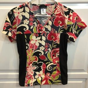 Cherokee Side Stretch Panel Floral Scrub Top